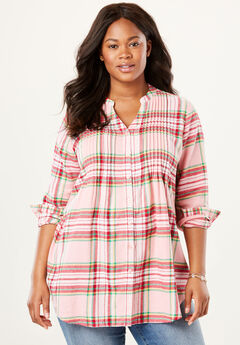 Pintuck Flannel Shirt, PINK SORBET PLAID