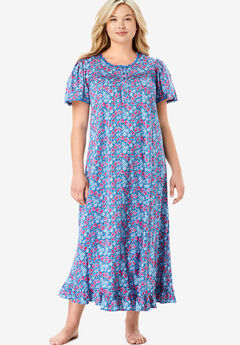 Long Floral Print Cotton Gown by Dreams & Co.®, BRIGHT BERRY FLORAL