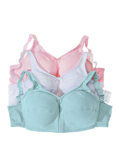 3-Pack Cotton Wireless Bra , PASTEL ASSORTED