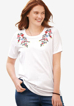 Short Sleeve Embroidered Tee, WHITE MULTI FLOWER EMBROIDERY, hi-res