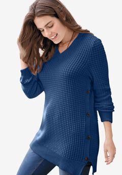 Side Button V-Neck Waffle Knit Sweater,