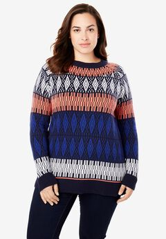 Fair Isle Knit Pullover Sweater,