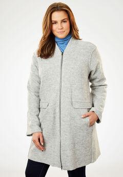 Lightweight Wool Zip Jacket, HEATHER GREY, hi-res