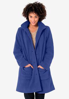 Hooded A-Line Fleece Coat, ULTRA BLUE