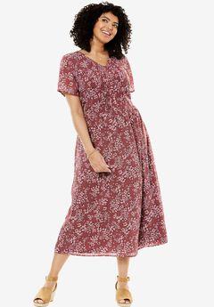 Long pintuck dress, VINTAGE PLUM BLOSSOM CONFETTI, hi-res