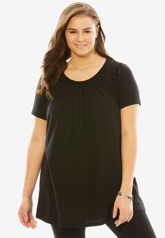 Smocked scoop neck tunic top, BLACK, hi-res