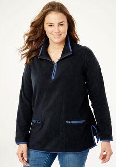 Quarter-Zip Microfleece Mock Neck Sweatshirt, BLACK