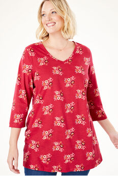 Printed V-Neck Perfect Tunic,