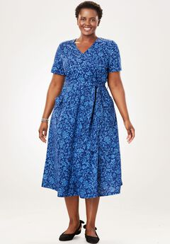 Midi Faux Wrap Dress, EVENING BLUE STAMPED FLORAL