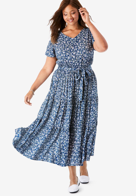 Tiered Belted Crinkle Dress