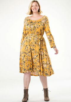 Belted Swing Dress by Chelsea Studio®, HONEY GOLD FLORAL