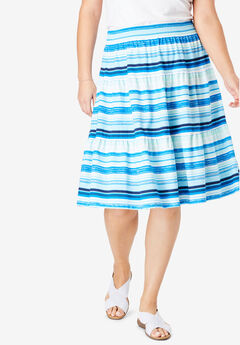 Jersey Knit Tiered Skirt, BRIGHT BLUE WATERCOLOR STRIPE