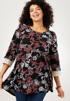 Crochet sleeve tunic, BLACK FLORAL