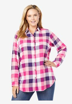 Classic Flannel Shirt, RASPBERRY SORBET MULTI PLAID