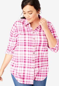 Classic Flannel Shirt, BRIGHT BERRY WHITE PLAID (YARN-DYE)