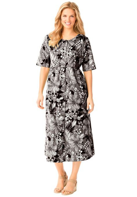 Empire Waist Button Front Dress By Only Necessities Plus Size