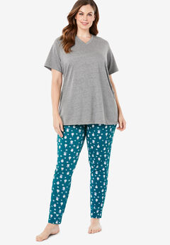 Relaxed Pajama Pant by Dreams & Co.®, BLUE TEAL PENGUIN
