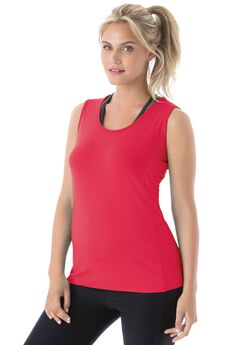Peached knit tank top by FullBeauty SPORT®, VIBRANT WATERMELON, hi-res