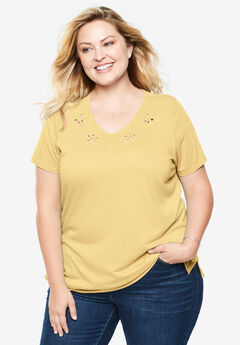 dd3708f410a Embroidered V-Neck Cutout Tee