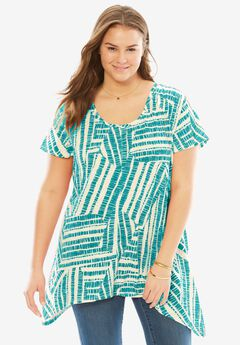 Top in print slub knit with hanky hem, WATERFALL GEO, hi-res