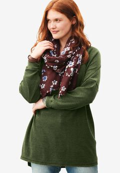 Classic thermal knit sweatshirt, FOREST GREEN, hi-res