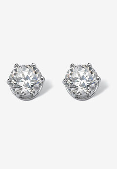 Round Cubic Zirconia Stud Earrings in Platinum over Silver (8.5mm),