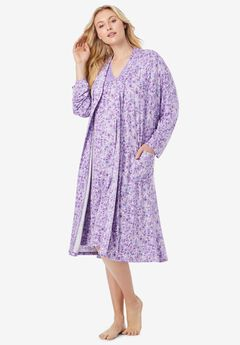 Knit Gown and Robe Set , SOFT IRIS FLORAL