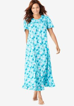 Long Floral Print Cotton Gown by Dreams & Co.®, CARIBBEAN BLUE ROSES