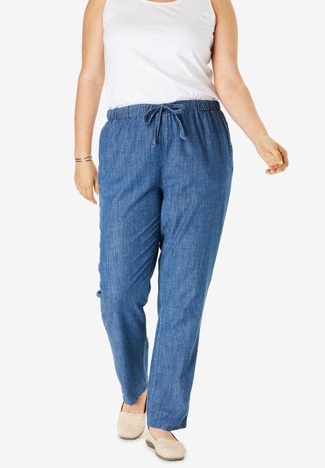 Drawstring Chambray Straight Leg Pant| Plus Size Pants | Woman Within