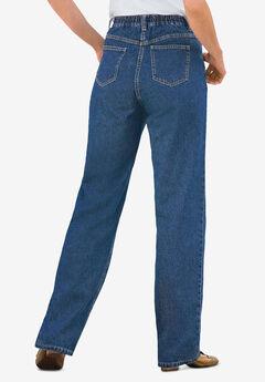 Back-Elastic Straight Leg Cotton Jean, MEDIUM STONEWASH