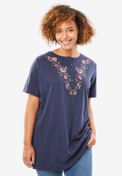 7-Day Knits Embroidered Pointelle Tunic by Only Necessities®, NAVY ROSE BOUQUET, hi-res