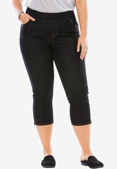 Smooth Waist Capri Jean, BLACK DENIM