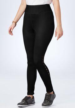 Side Slit Legging, BLACK, hi-res