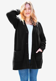 Long sleeve Button-Front Cardigan, BLACK, hi-res