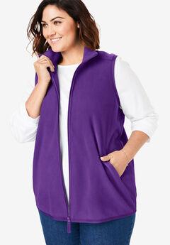 Zip-Front Microfleece Vest, RADIANT PURPLE