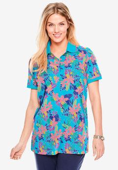 Perfect Printed Polo Shirt, CARIBBEAN BLUE PRETTY TROPICANA