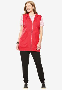 Hooded tunic vest, CORAL RED, hi-res