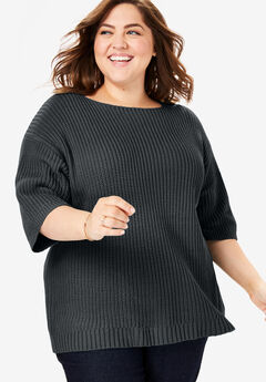 Square neck pullover, BLACK, hi-res