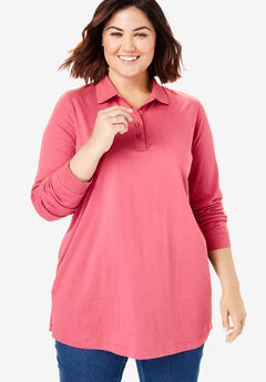 Long-Sleeve Tunic Polo Shirt, TEA ROSE