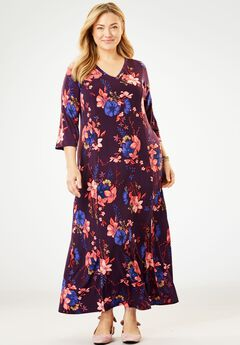Maxi T-Shirt Dress with Princess Seams, MIDNIGHT PLUM FLORAL