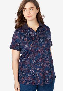Perfect Printed Polo Shirt, NAVY STITCH FLORAL