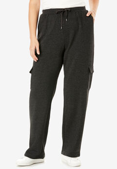 Pants in soft knit better fleece with cargo pockets, drawstring waist, HEATHER CHARCOAL, hi-res