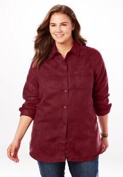 Soft Moleskin Button Down Shirt, RICH BURGUNDY