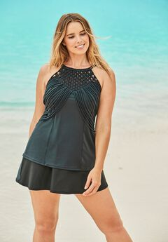High-Neck Macrame Tankini Top ,