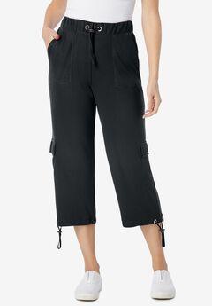 Pull-On Knit Cargo Capri, BLACK