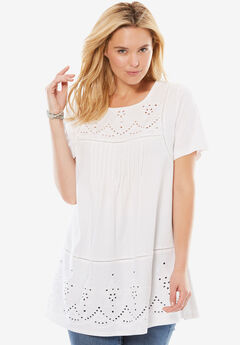 Embroidered Eyelet Knit Pintucked Tunic, WHITE, hi-res
