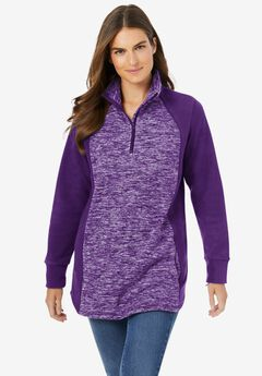 Microfleece Quarter Zip Pullover With Colorblocking,