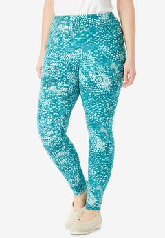 Stretch Cotton Printed Legging, PARADISE TURQ SCATTERED GEO