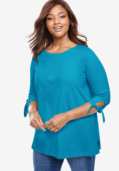 Perfect Tie Sleeve Tee, RIVER BLUE