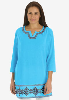 Embroidered gauze tunic, PARADISE BLUE EMBROIDERY